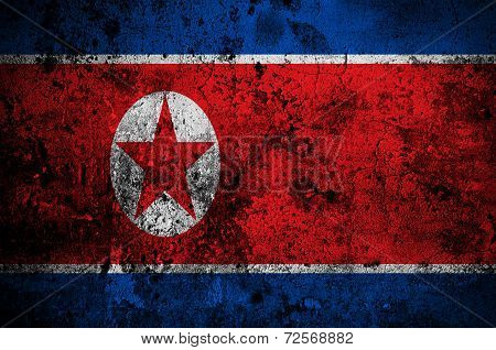 Grunge Flag Of North Korea With Capital In Pyongyang