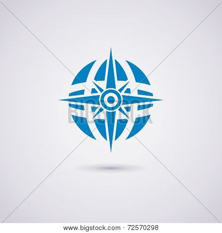 Vector Icon Design Of Compass And Earth Globe