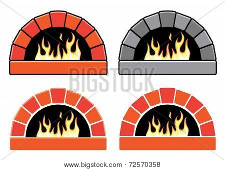 Vector Clipart Set Of Ovens With Burning Fire