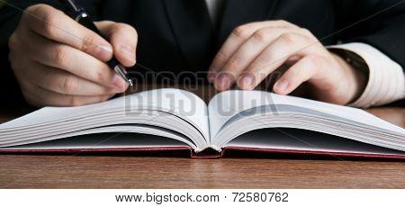 Writer Writes A Pen On Paper Work