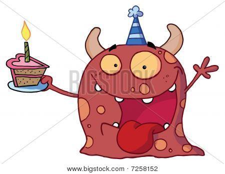 Monster einen Partyhut mit und ein Stück Kuchen, schreien und hält einen Arm
