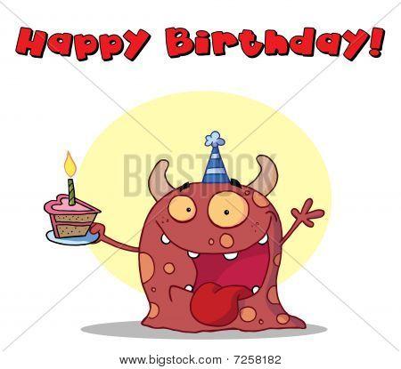 Alles Gute zum Geburtstag-Text über ein rosa Geburtstag Monster trägt einen Hut und Kuchen halten