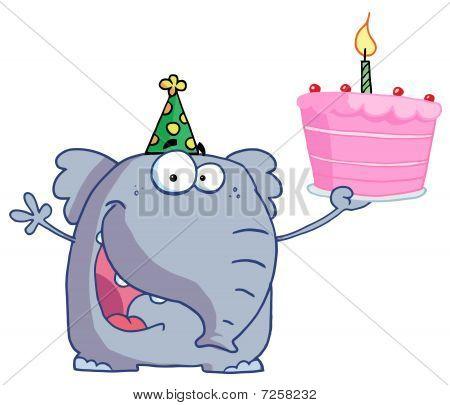 Alles Gute zum Geburtstag-Elefanten In einen Partyhut, halten einen Kuchen mit A beleuchtete Kerze
