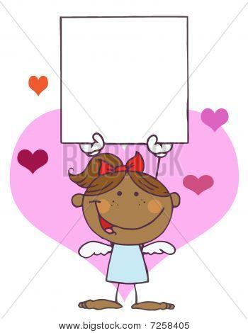 Cartoon Stick Afroamerikaner Cupid Mädchen mit Banner