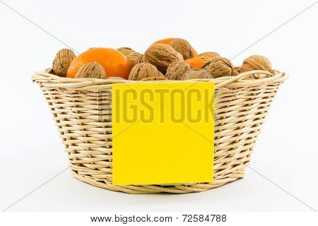 Small Basket With Walnuts, Tangerines And Yellow Note