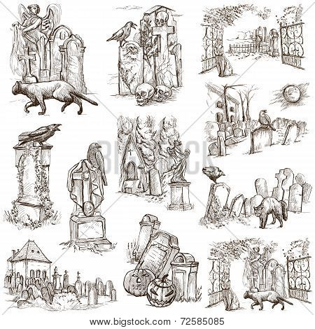 Halloween, Cemeteries - An Hand Drawn Vector Pack