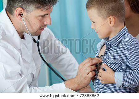 Pediatrician Listening Preschooler Heart