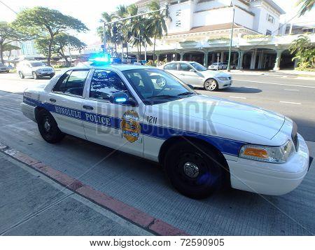 Honolulu Police Department Police Car Lights Flash On Ala Moana Boulevard