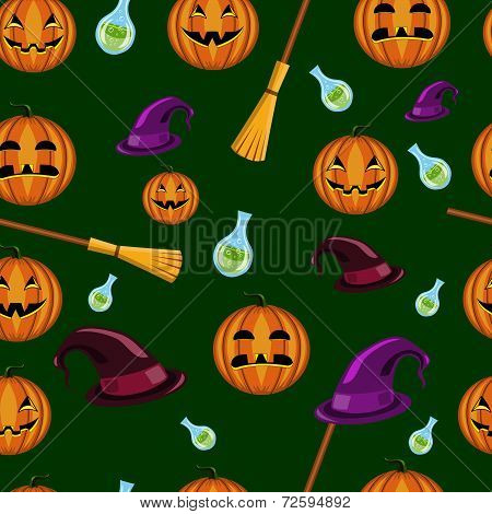 Halloween seamless pattern with pumpkins witches hats and brooms poster