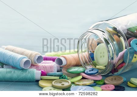 Multicolored Buttons And Spools Of Thread3
