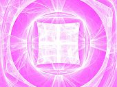 White circles and curves fractal image on pink poster