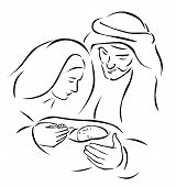 Christmas nativity scene with holy family - baby Jesus virgin Mary and Joseph (vector illustration) poster