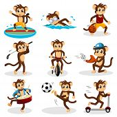 A vector illustration of monkey doing activity poster
