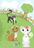 Beautiful cat and her admirers which are in love and cats rivals give gifts. Cute romantic card and rural landscape. Vector illustration poster