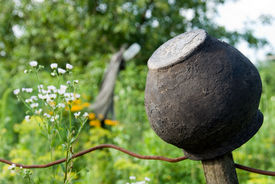 Clay Pot On A Background Of Grass And Flowers