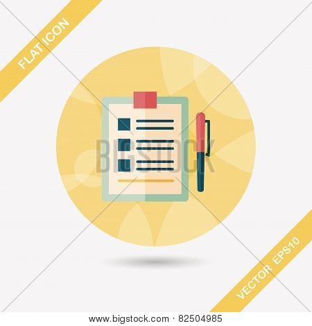 Clipboard Flat Icon With Long Shadow, Design elements for mobile and web applications, stylish colors of vector illustration. poster