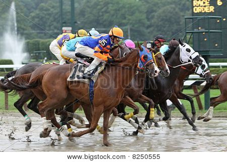 Racing Down A Muddy Track