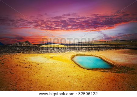 Viti is a beautiful crater lake of a turquoise color located on the North-East of Iceland, at Krafla geothermal area near the lake Myvatn. Fantasy sunset