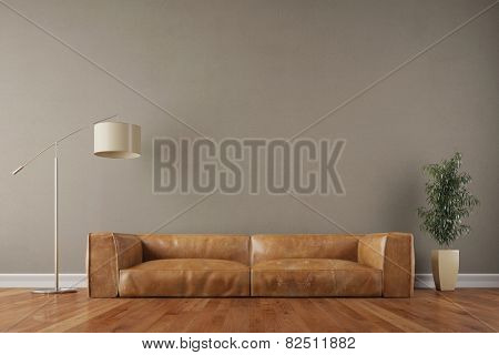Retro vintage sofa in living room with wall and reading lamp (3D Rendering)