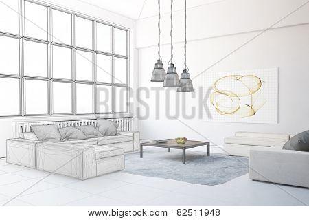 Planning of interior design in loft living room (3D Rendering)