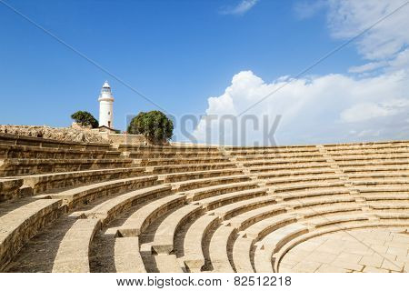 Ancient Odeon dated 2nd century A.D. in Paphos Archaeological Park, Cyprus.