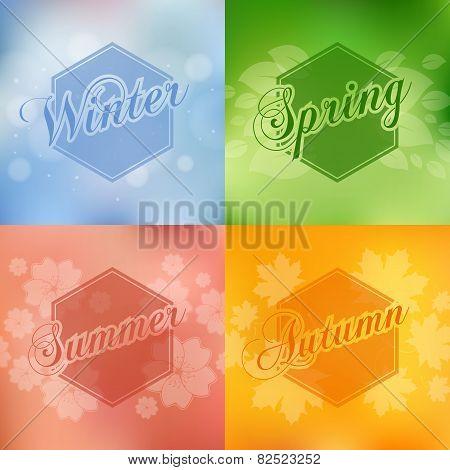 Stylish 4 season cards design