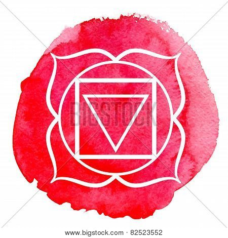 Muladhara chakra. Watercolor vector illustration isolated on white poster
