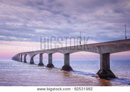 Sunset at Confederation Bridge from Borden-Carleton, Prince Edward Island, Canada