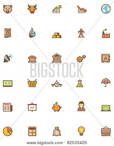 Set of the stock market related icons