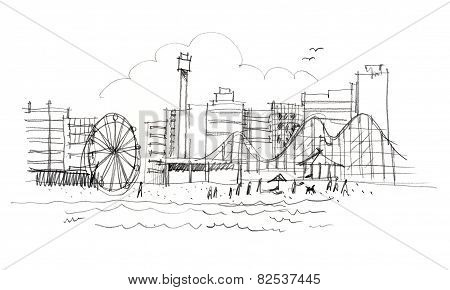New Jersey's Beach, New York Skyline Illustration