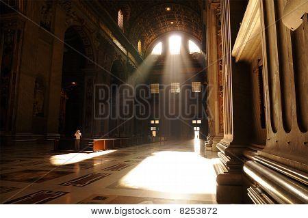 Rays Of Light Illuminating St Peter's Basilica Entrance