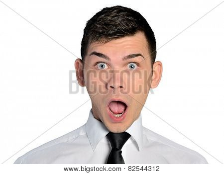 Isolated business man shocked face