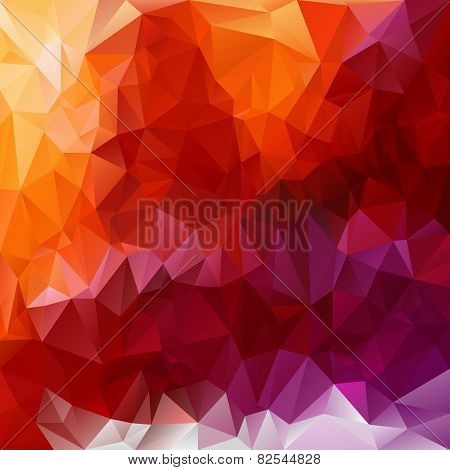 Vector Polygonal Background Triangular Design In Fiery  Color