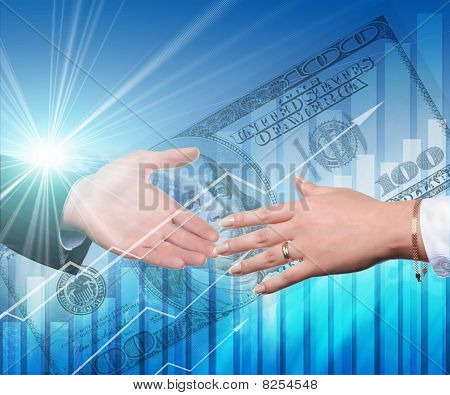 Handshake On An Abstract Background