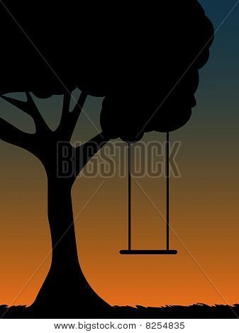 Tree Swing Silhouette at dusk