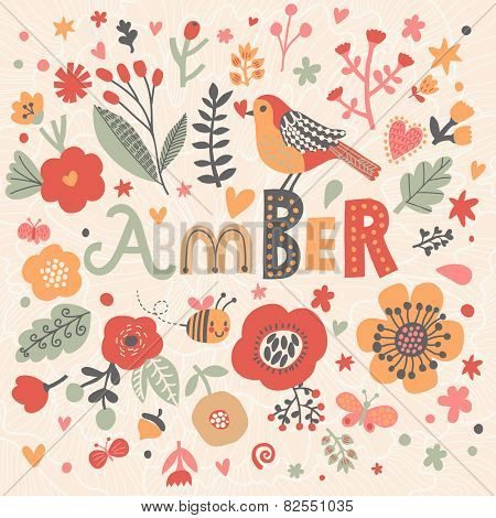 Bright card with beautiful name Amber in poppy flowers, bees and butterflies. Awesome female name design in bright colors. Tremendous vector background for fabulous designs poster