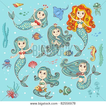 Cute Vector Set With Mermaids