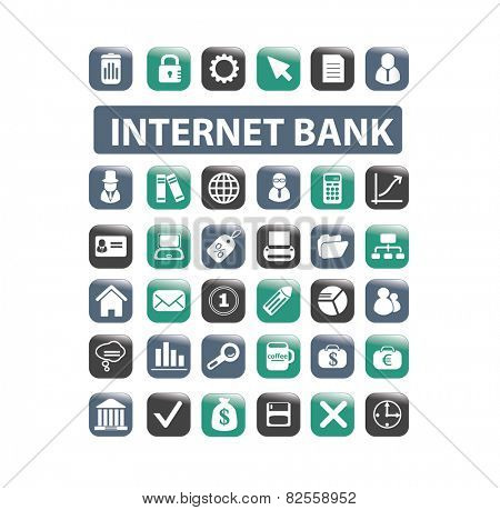 internet online banking, payment, finance, money isolated design flat icons, signs, illustrations vector set on background