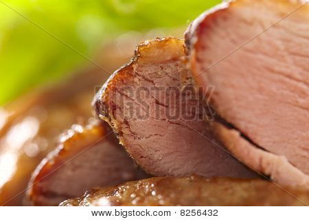 Smoked  Duck Breast Fillet,  Sliced, Closeup