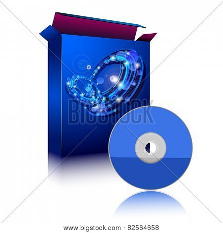 Box and Disc on white background. Software. Illustration.