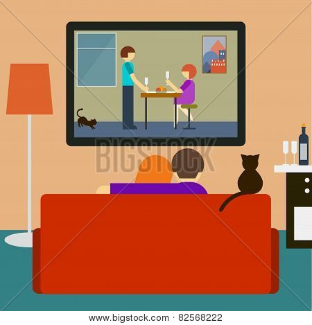 Couple And Cat Watching The Romantic Movie On Television