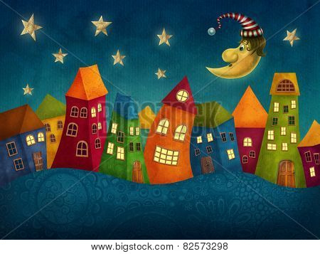 Fantasy colorful houses in a row