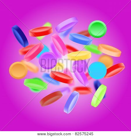 Sweet, Tasty, Colorful Candies On Purple Background
