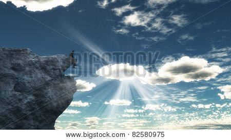 3D render of a male figure sitting on top of a mountain - figure created in Poser