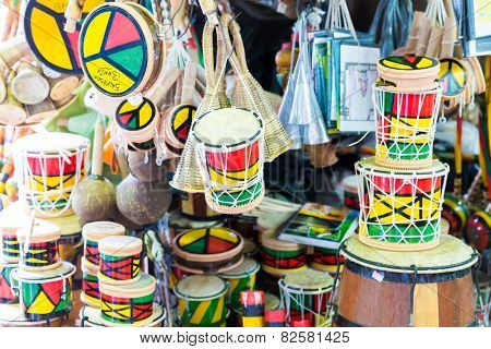 SALVADOR, BRAZIL - CIRCA NOVEMBER 2014: Tamborine product at the Mercado Modelo in Salvador, Bahia. This market is visited by locals and tourists looking for goods and gifts.