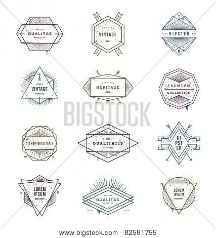 Vector illustration - set of grunge hipster signs and emblems with sunburst rays