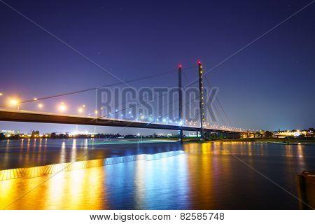 DUSSELDORF - SEP 16: Dusseldorf at night on September 16, 2014 in Dusseldorf, Germany. Dusseldorf is the capital city of the German state of North Rhine-Westphalia