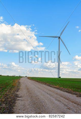 Roadway To Wind Farm Windmill