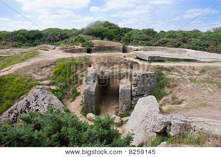 Destroyed Ww2 Bunker At Point Du Hoc