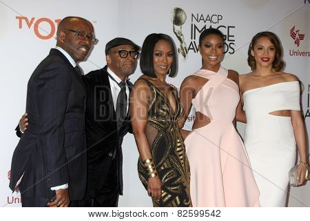LOS ANGELES - FEB 6:  Courtney B. Vance, Spike Lee, Angela Bassett, Gabrielle Union, Carmen Ejogo at the 46th NAACP Image Awards  at  Pasadena Convention Center on February 6, 2015 in Pasadena, CA